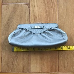 Cole Haan silver leather clutch